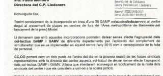 Escrit adreçat a la Directora C.P. Lledoners demanant deixar sense efecte l'agrupació dels col·lectius de GAMV i GAMP